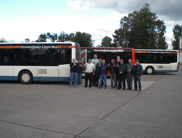 """Viel Einsatzt zeigten die Mitarbeiter von """"Deutsche Bahn Ostwestfalen-Lippe-Bus"""" beim Sicherheitstrainingsprogramm."""